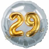 Runder Luftballon Jumbo Zahl 29, silber-gold mit 3D-Effekt zum 29. Geburtstag