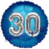 Runder Luftballon Jumbo Zahl 30, blau-silber mit 3D-Effekt zum 30. Geburtstag