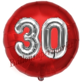 Runder Luftballon Jumbo Zahl 30, rot-silber mit 3D-Effekt zum 30. Geburtstag