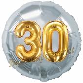Runder Luftballon Jumbo Zahl 30, silber-gold mit 3D-Effekt zum 30. Geburtstag