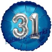 Runder Luftballon Jumbo Zahl 31, blau-silber mit 3D-Effekt zum 31. Geburtstag