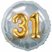 Runder Luftballon Jumbo Zahl 31, silber-gold mit 3D-Effekt zum 31. Geburtstag