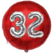 Runder Luftballon Jumbo Zahl 32, rot-silber mit 3D-Effekt zum 32. Geburtstag
