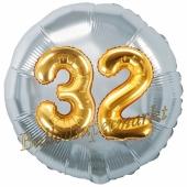 Runder Luftballon Jumbo Zahl 32, silber-gold mit 3D-Effekt zum 32. Geburtstag