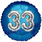 Runder Luftballon Jumbo Zahl 33, blau-silber mit 3D-Effekt zum 33. Geburtstag