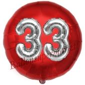Runder Luftballon Jumbo Zahl 33, rot-silber mit 3D-Effekt zum 33. Geburtstag