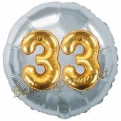 Runder Luftballon Jumbo Zahl 33, silber-gold mit 3D-Effekt zum 33. Geburtstag