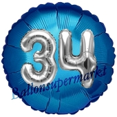 Runder Luftballon Jumbo Zahl 34, blau-silber mit 3D-Effekt zum 34. Geburtstag