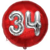 Runder Luftballon Jumbo Zahl 34, rot-silber mit 3D-Effekt zum 34. Geburtstag