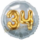 Runder Luftballon Jumbo Zahl 34, silber-gold mit 3D-Effekt zum 34. Geburtstag