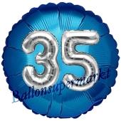 Runder Luftballon Jumbo Zahl 35, blau-silber mit 3D-Effekt zum 35. Geburtstag