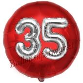 Runder Luftballon Jumbo Zahl 35, rot-silber mit 3D-Effekt zum 35. Geburtstag