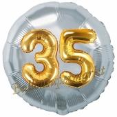 Runder Luftballon Jumbo Zahl 35, silber-gold mit 3D-Effekt zum 35. Geburtstag