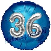 Runder Luftballon Jumbo Zahl 36, blau-silber mit 3D-Effekt zum 36. Geburtstag