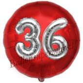 Runder Luftballon Jumbo Zahl 36, rot-silber mit 3D-Effekt zum 36. Geburtstag