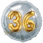 Runder Luftballon Jumbo Zahl 36, silber-gold mit 3D-Effekt zum 36. Geburtstag