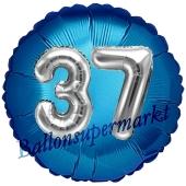 Runder Luftballon Jumbo Zahl 37, blau-silber mit 3D-Effekt zum 37. Geburtstag