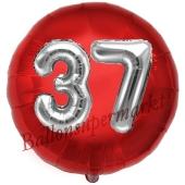 Runder Luftballon Jumbo Zahl 37, rot-silber mit 3D-Effekt zum 37. Geburtstag