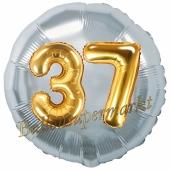 Runder Luftballon Jumbo Zahl 37, silber-gold mit 3D-Effekt zum 37. Geburtstag