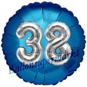 Runder Luftballon Jumbo Zahl 38, blau-silber mit 3D-Effekt zum 38. Geburtstag