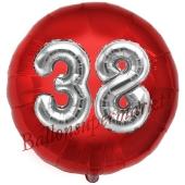 Runder Luftballon Jumbo Zahl 38, rot-silber mit 3D-Effekt zum 38. Geburtstag