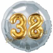 Runder Luftballon Jumbo Zahl 38, silber-gold mit 3D-Effekt zum 38. Geburtstag
