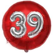 Runder Luftballon Jumbo Zahl 39, rot-silber mit 3D-Effekt zum 39. Geburtstag