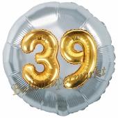 Runder Luftballon Jumbo Zahl 39, silber-gold mit 3D-Effekt zum 39. Geburtstag