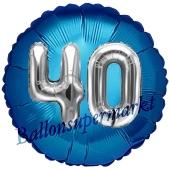 Runder Luftballon Jumbo Zahl 40, blau-silber mit 3D-Effekt zum 40. Geburtstag