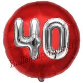 Runder Luftballon Jumbo Zahl 40, rot-silber mit 3D-Effekt zum 40. Geburtstag