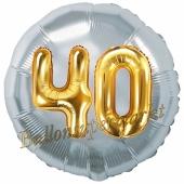 Runder Luftballon Jumbo Zahl 40, silber-gold mit 3D-Effekt zum 40. Geburtstag
