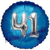 Runder Luftballon Jumbo Zahl 41, blau-silber mit 3D-Effekt zum 41. Geburtstag