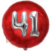 Runder Luftballon Jumbo Zahl 41, rot-silber mit 3D-Effekt zum 41. Geburtstag