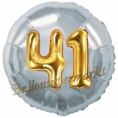 Runder Luftballon Jumbo Zahl 41, silber-gold mit 3D-Effekt zum 41. Geburtstag
