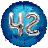 Runder Luftballon Jumbo Zahl 42, blau-silber mit 3D-Effekt zum 42. Geburtstag