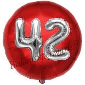 Runder Luftballon Jumbo Zahl 42, rot-silber mit 3D-Effekt zum 42. Geburtstag