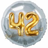 Runder Luftballon Jumbo Zahl 42, silber-gold mit 3D-Effekt zum 42. Geburtstag