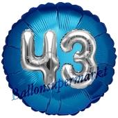 Runder Luftballon Jumbo Zahl 43, blau-silber mit 3D-Effekt zum 43. Geburtstag