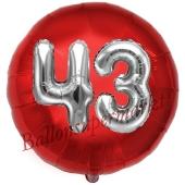 Runder Luftballon Jumbo Zahl 43, rot-silber mit 3D-Effekt zum 43. Geburtstag