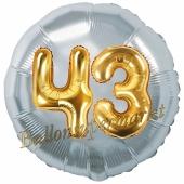 Runder Luftballon Jumbo Zahl 43, silber-gold mit 3D-Effekt zum 43. Geburtstag