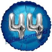 Runder Luftballon Jumbo Zahl 44, blau-silber mit 3D-Effekt zum 44. Geburtstag