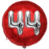 Runder Luftballon Jumbo Zahl 44, rot-silber mit 3D-Effekt zum 44. Geburtstag