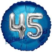 Runder Luftballon Jumbo Zahl 45, blau-silber mit 3D-Effekt zum 45. Geburtstag