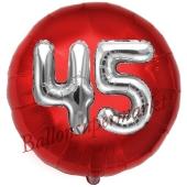 Runder Luftballon Jumbo Zahl 45, rot-silber mit 3D-Effekt zum 45. Geburtstag