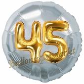 Runder Luftballon Jumbo Zahl 45, silber-gold mit 3D-Effekt zum 45. Geburtstag