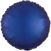 Rundluftballon Marineblau, Satin Luxe, Matt, 45 cm mit Ballongas Helium