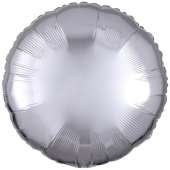 Rundluftballon Silber, 45 cm mit Ballongas Helium