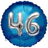 Runder Luftballon Jumbo Zahl 46, blau-silber mit 3D-Effekt zum 46. Geburtstag