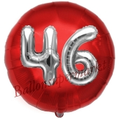 Runder Luftballon Jumbo Zahl 46, rot-silber mit 3D-Effekt zum 46. Geburtstag