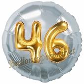 Runder Luftballon Jumbo Zahl 46, silber-gold mit 3D-Effekt zum 46. Geburtstag